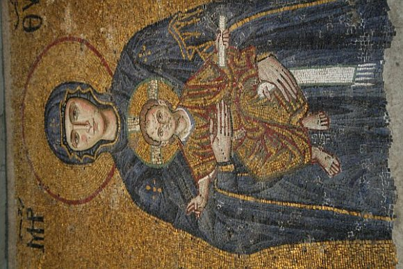 Mosaic of Virgin Maria with Jesus Christ