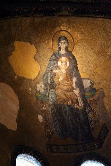 Mosaic of Virgin Maria with Jesus Christ on the ceiling of Hagia Sophia