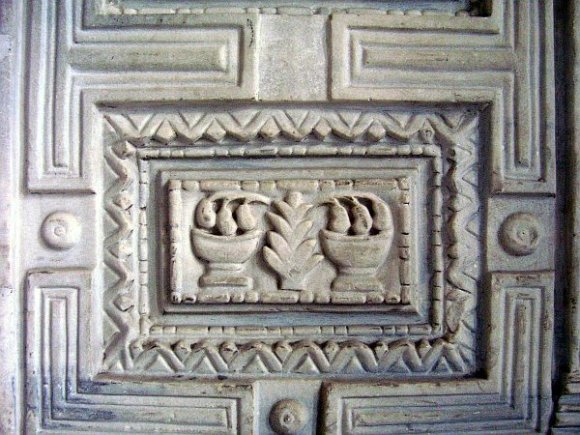 A detail from the marble door