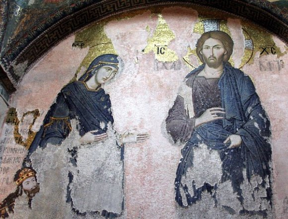 Istanbul - Kariye Museum / Chora Church - The Virgin and Jesus from the Deesis mosaic.